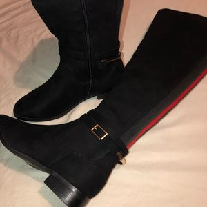 Shoes - Suede Striped Knee High Boots